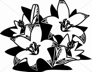 Woodcut Style Easter Lilies | Easter Clipart