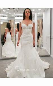lace applique strap pleated lace gown with open back style With wedding dresses for large breasts