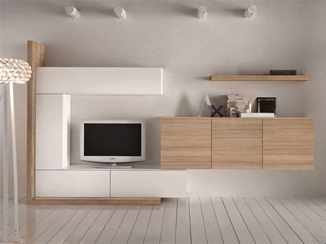 soggiorno componibile con finitura in legno naturale