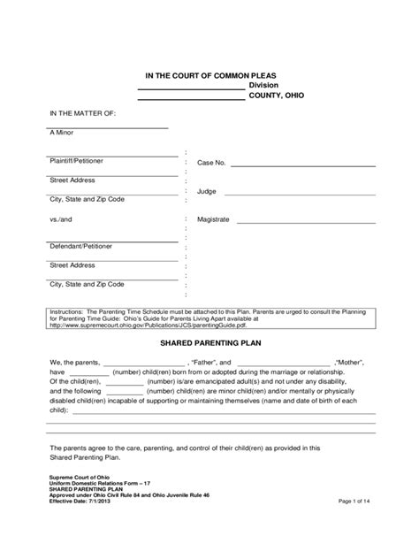 Joint Custody Agreement Form - 6 Free Templates in PDF