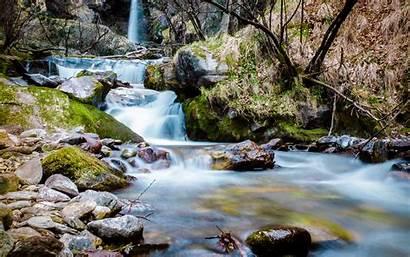 Stream Mountain Rocks Waterfall Backgrounds Desktop Moss