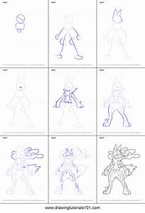 How to Draw Mega Lucario from Pokemon printable step by ...
