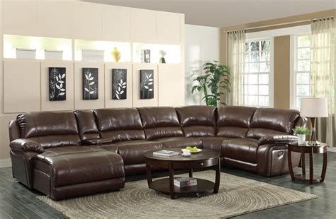 mackenzie brown bonded leather reclining sectional sofa