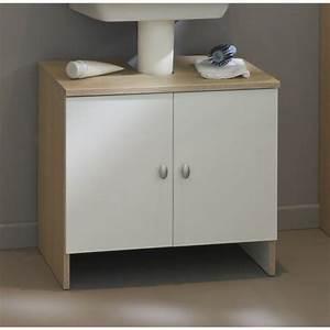 meuble sous lavabo riga l 59 cm blanc et ton bois achat With meuble sous lavabo bois