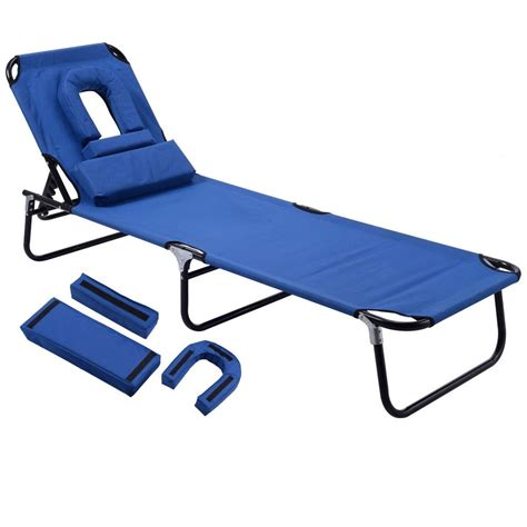 sun chaise lounge chairs outdoor sun chaise lounge recliner patio cing bed pool chair fold blue ebay