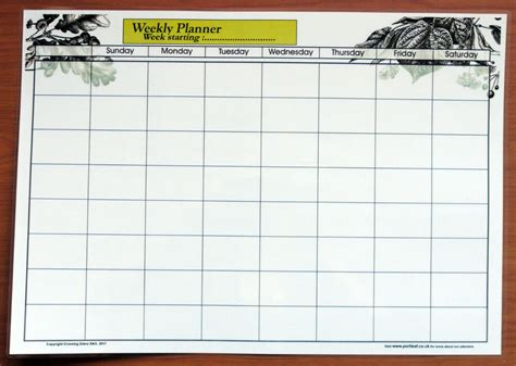 full size laminate weekly planner dry wipe wall chart