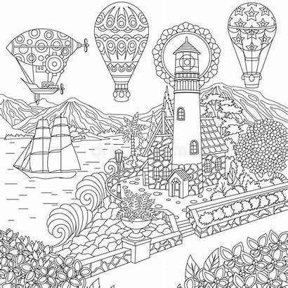 Coloring Zentangle Lighthouse Landscape Balloons Colouring Sailing
