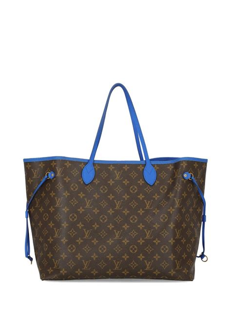 louis vuitton womens tote bag neverfull brownnavy fabric  sale  stdibs