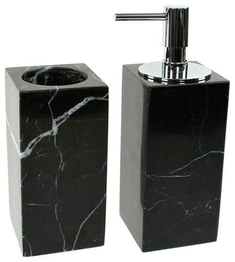 black 2 marble bathroom accessory set contemporary