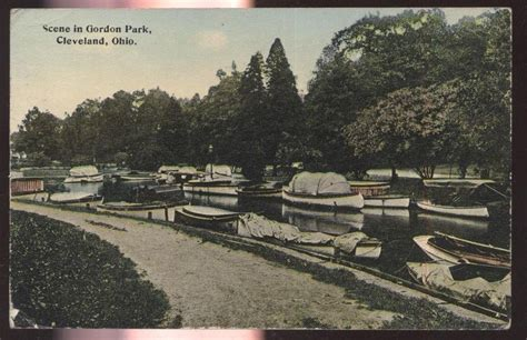 Ebay Boats Ohio by Postcard Cleveland Ohio Oh Gordon Park Boat Canal View
