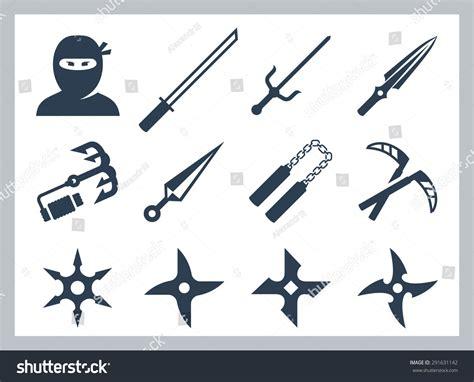 Ninja Weapons Vector Icon Set Stock