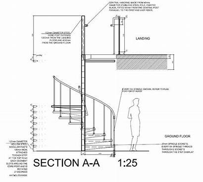 Staircase Drawings Spiral Autocad Section Elevation Drawing
