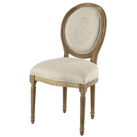 chaise medaillon en lin beige  chene grise louis maisons du monde
