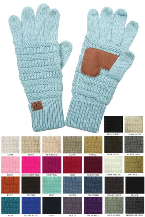 solid color groove knit gloves  cc