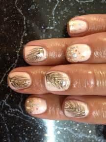 Nail shellac gelish gel nails art cute pink gold glitter feather