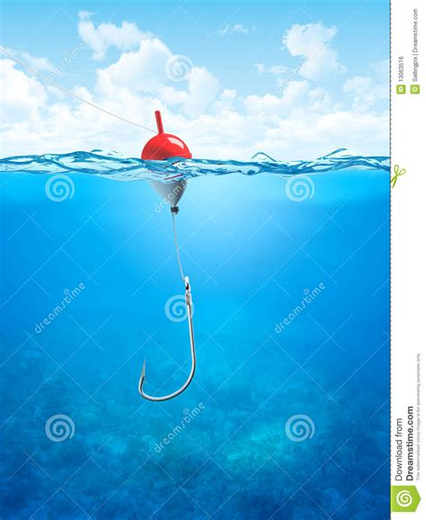 float fishing   hook underwater stock illustration