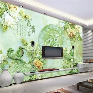 3D Jade carving wallpaper Unique Design Wall Mural flower ...