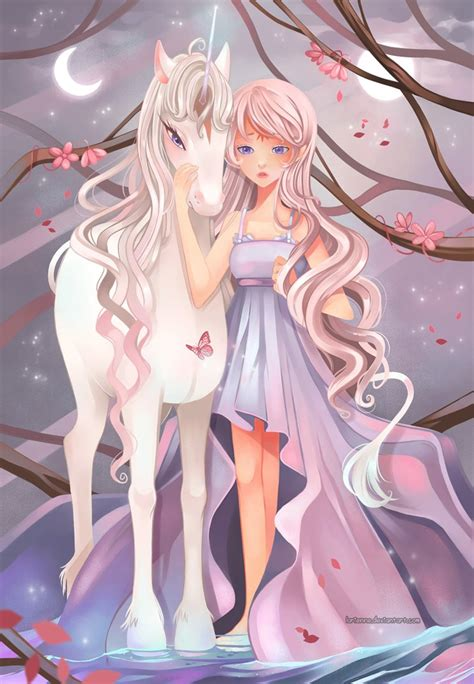 anime unicorn art midsummer in lilac forest by larienne on deviantart
