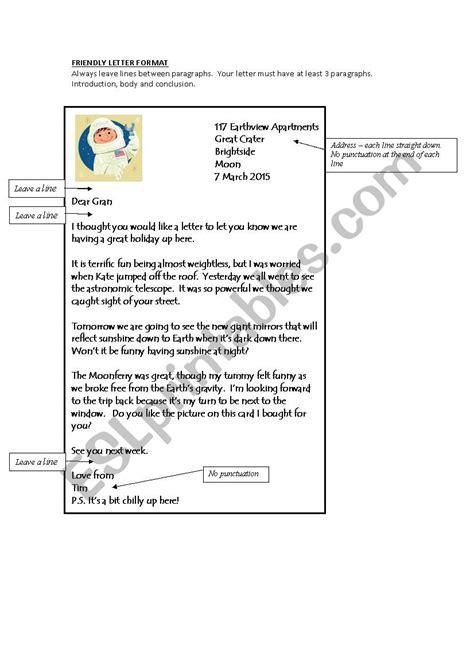 friendly letter format esl worksheet  bevm