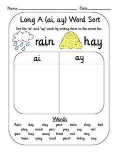 long  vowel sound worksheet ae ai ay