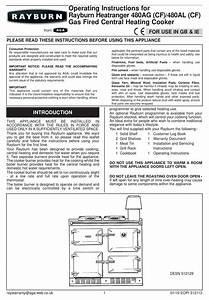 Rayburn Heatranger 480ag  Cf  Operating Instructions