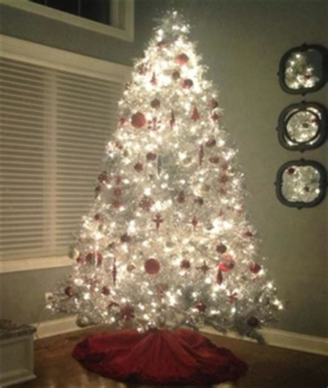 silver stardust tinsel artificial christmas tree treetopia