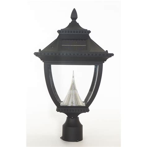 lowes l post lights shop gama sonic pagoda 21 in h black solar led post light