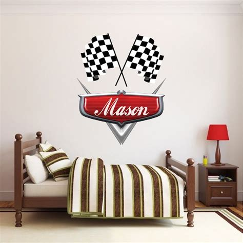 personalized boys race car  decal kids room wall