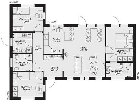 plan maison plein pied 4 chambres plan maison ossature bois plain pied 4 chambres maison