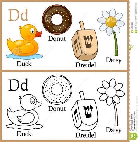 picture of objects starting with letter d coloring book for children alphabet d stock vector 30311