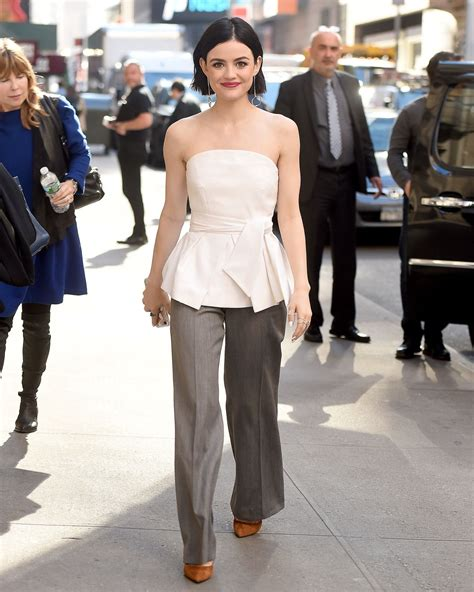 Lucy Hale Casual Chic Outfit - Times Square in New York ...