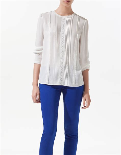 zara blouse zara pin tuck blouse in white lyst