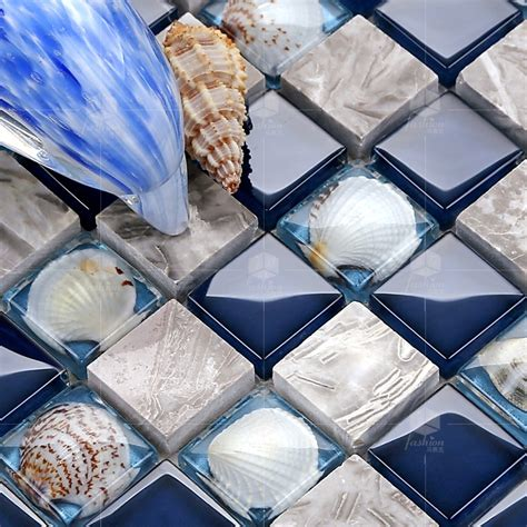 glass stone shell mosaic tile mirror tv background