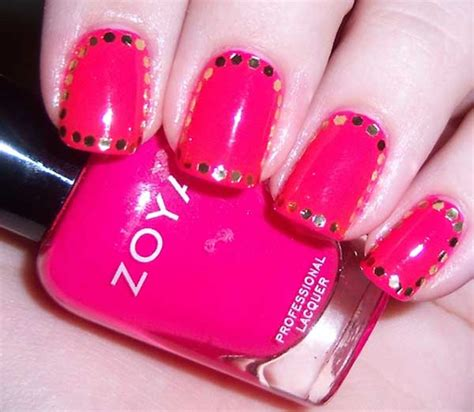 Images Of Hot Pink Nails With Designs Summer