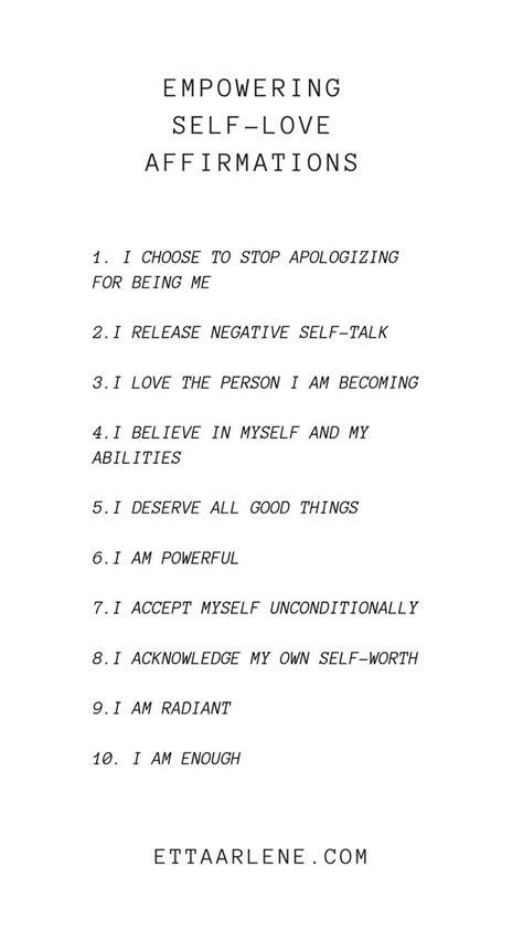 Empowering Self-Love Affirmations   ETTA ARLENE   Self