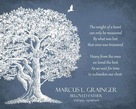 memorial plaque  loving memory poem oak tree sympathy