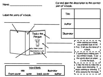 parts of a book printable by withers at firstie