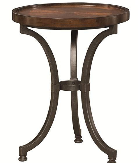 chair and end table round chairside table with metal base by hammary wolf