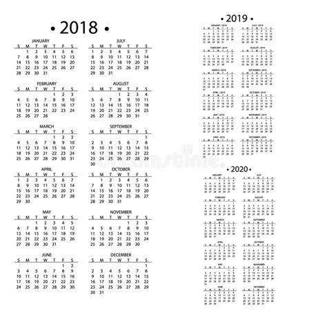 simple calendar years template date day design