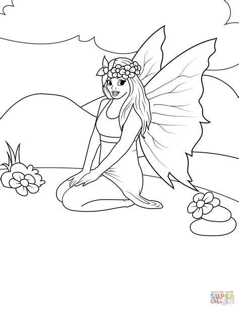 Sitting Fairy coloring page Free Printable Coloring Pages