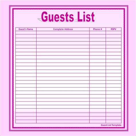 wedding guest list templates   ms word excel