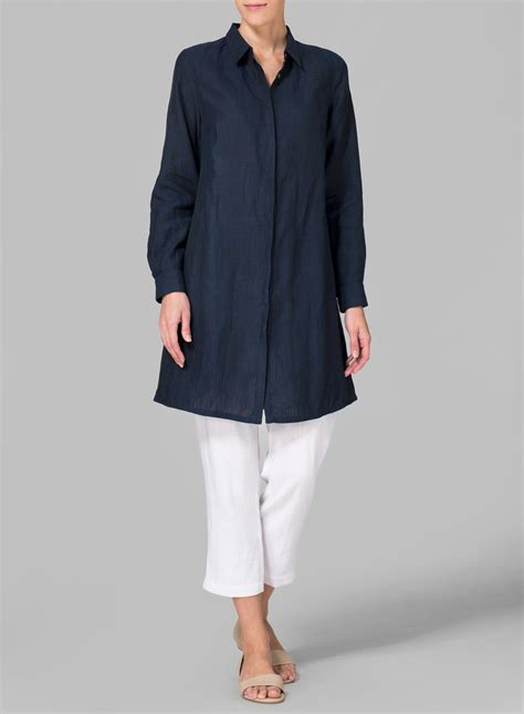 missy clothing linen rolled sleeve long top