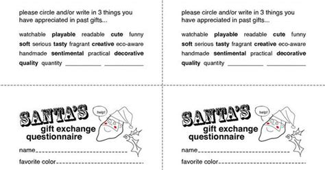 gift exchange interest surveys secret santa gift exchange forms secret santa questionnaire templates http www docstoc