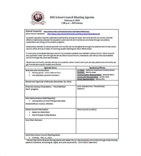 school agenda template   word excel  format