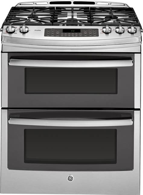 GE PGS950SEFSS 30 Inch Slide In Double Oven Gas Range with