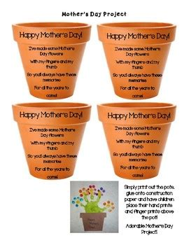 mothers day poem flower pot craft project  early