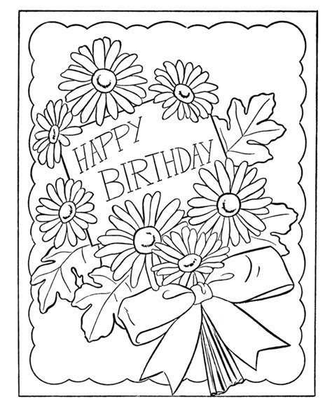 Free Coloring Cards by Birthday Coloring Pages Birthday Card Flowers Diy