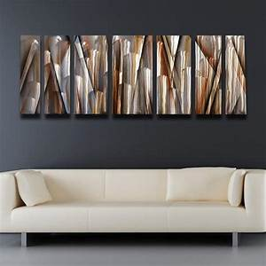Quotvanishing pointquot 66quotx24quot large earthtone brown modern for Kitchen colors with white cabinets with contemporary metal wall art sculpture