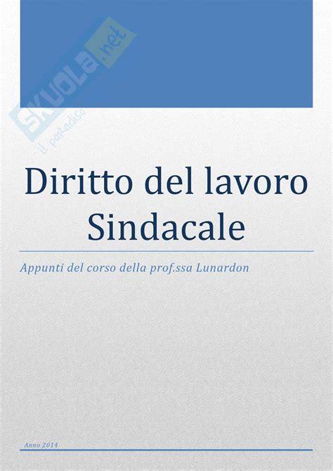 Dispensa Diritto Lavoro by Diritto Lavoro Sindacale Appunti Di Diritto