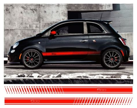 Fiat 500 Graphics by Pair Fiat 500 Side Stripes Vinyl Decal Detail Sidestripes